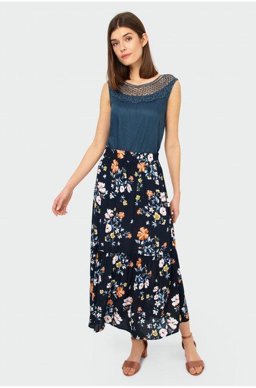 długa jesienna spódnica z falbanką